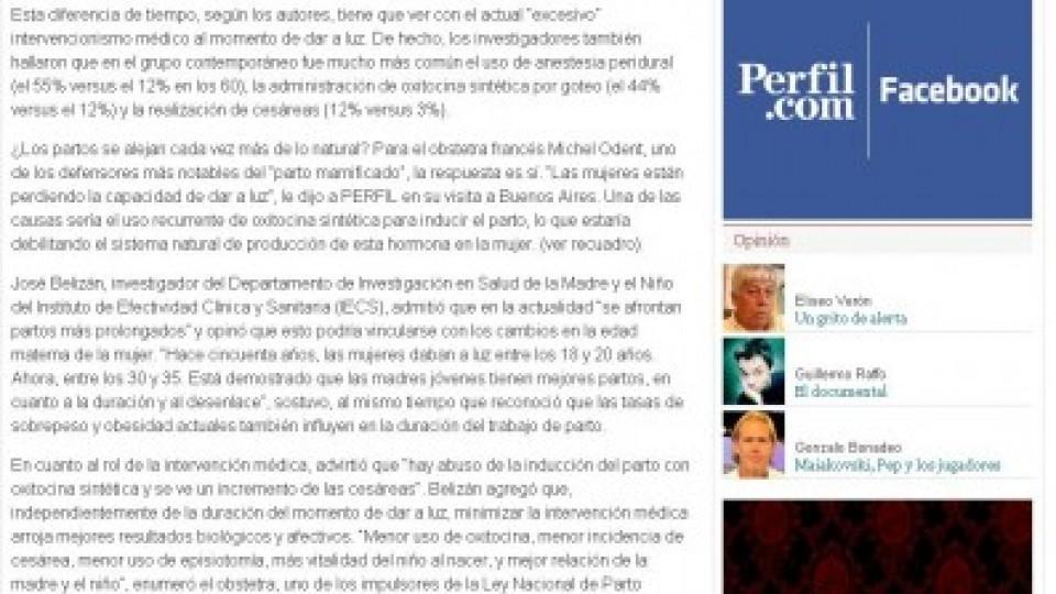 5 05 2013 Diario Perfil partos