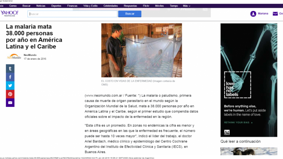 Yahoo malaria